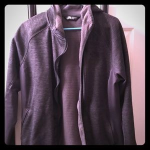 North face women's gray xl hooded zip jacket